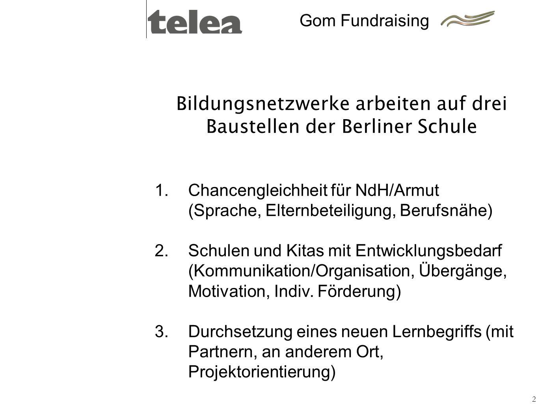Bildungsnetzwerke arbeiten auf drei Baustellen der Berliner Schule 2 1.Chancengleichheit für NdH/Armut (Sprache, Elternbeteiligung, Berufsnähe) Schule