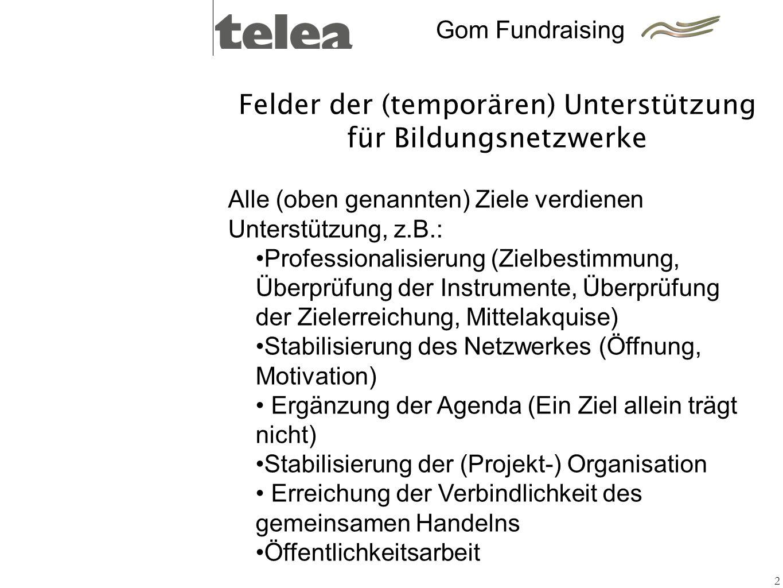 Felder der (temporären) Unterstützung für Bildungsnetzwerke 2 Alle (oben genannten) Ziele verdienen Unterstützung, z.B.: Professionalisierung (Zielbes