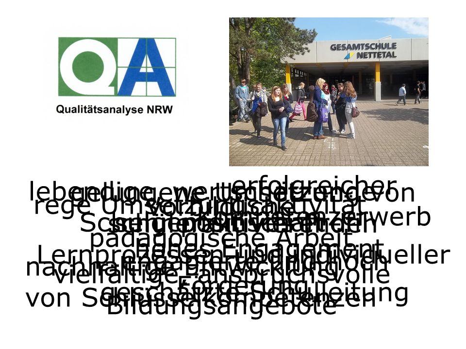 Die Schulen erhalten Bewertungen zu 25 von 28 Qualitätsaspekten des NRW-Qualitätstableaus.