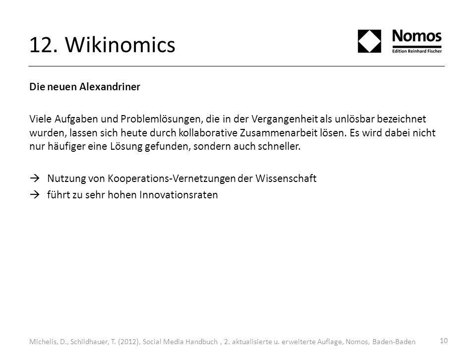 10 12. Wikinomics Michelis, D., Schildhauer, T. (2012), Social Media Handbuch, 2. aktualisierte u. erweiterte Auflage, Nomos, Baden-Baden Die neuen Al