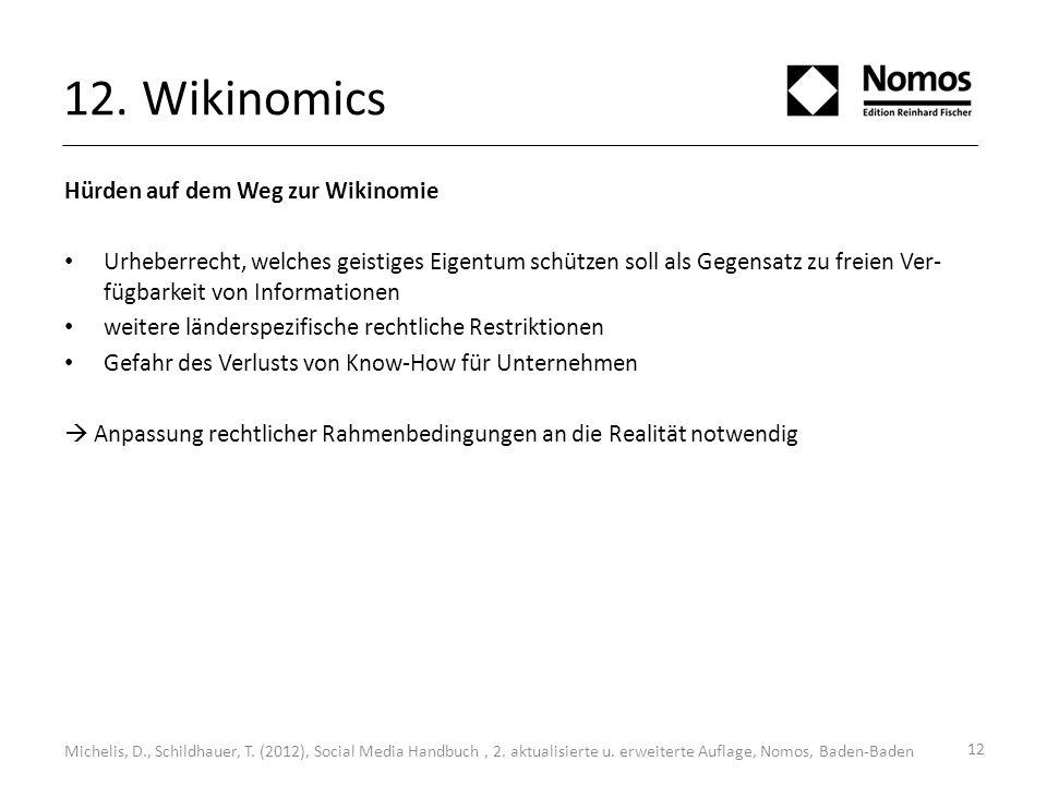 12 12. Wikinomics Michelis, D., Schildhauer, T. (2012), Social Media Handbuch, 2. aktualisierte u. erweiterte Auflage, Nomos, Baden-Baden Hürden auf d