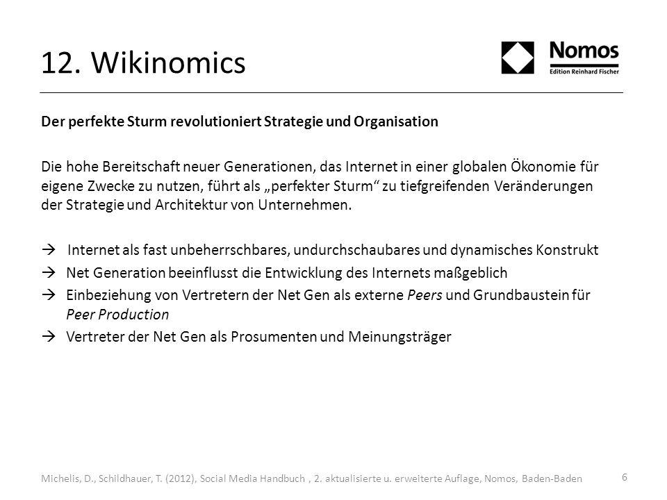 12. Wikinomics Michelis, D., Schildhauer, T. (2012), Social Media Handbuch, 2. aktualisierte u. erweiterte Auflage, Nomos, Baden-Baden Der perfekte St