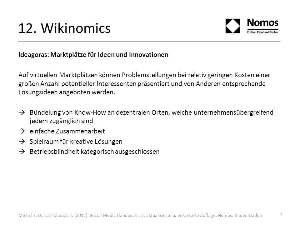 12. Wikinomics Michelis, D., Schildhauer, T. (2012), Social Media Handbuch, 2. aktualisierte u. erweiterte Auflage, Nomos, Baden-Baden Ideagoras: Mark