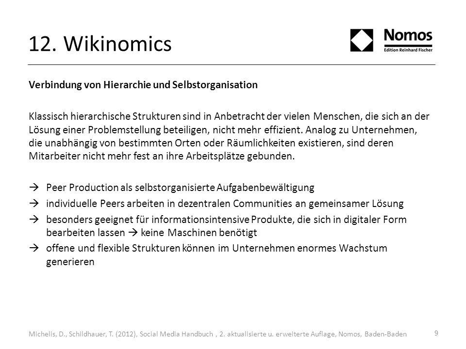 9 12. Wikinomics Michelis, D., Schildhauer, T. (2012), Social Media Handbuch, 2. aktualisierte u. erweiterte Auflage, Nomos, Baden-Baden Verbindung vo