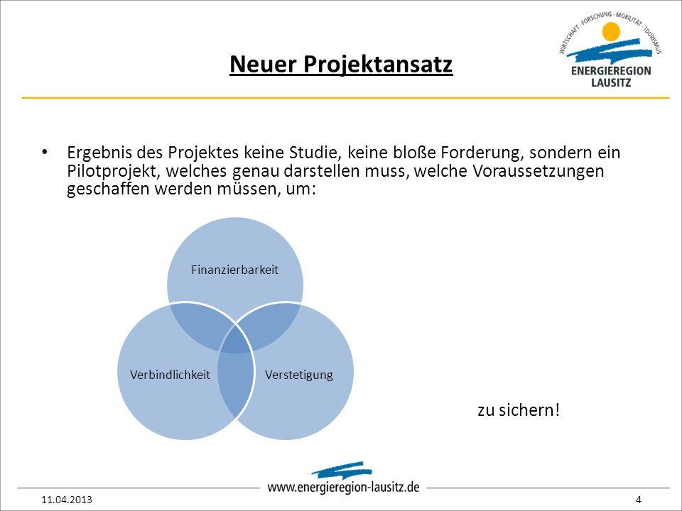 Neuer Projektansatz Ergebnis des Projektes keine Studie, keine bloße Forderung, sondern ein Pilotprojekt, welches genau darstellen muss, welche Voraussetzungen geschaffen werden müssen, um: 11.04.20134 Finanzierbarkeit VerstetigungVerbindlichkeit zu sichern!