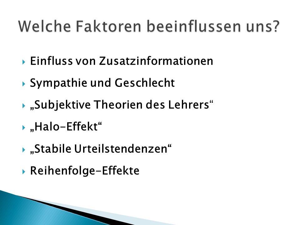 Einfluss von Zusatzinformationen Sympathie und Geschlecht Subjektive Theorien des Lehrers Halo-Effekt Stabile Urteilstendenzen Reihenfolge-Effekte