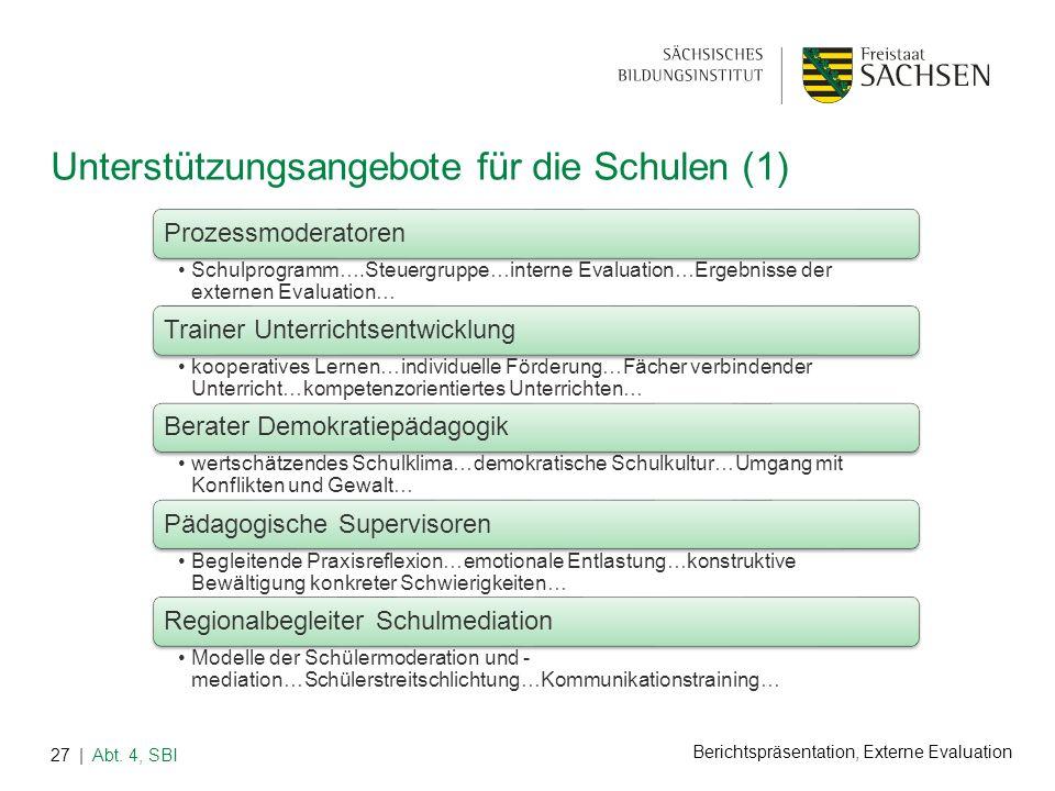 Berichtspräsentation, Externe Evaluation Unterstützungsangebote für die Schulen (1) | Abt. 4, SBI27 Prozessmoderatoren Schulprogramm….Steuergruppe…int