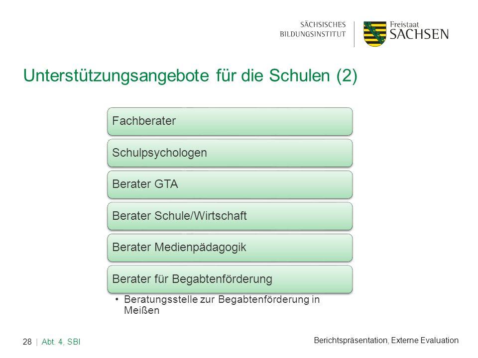 Berichtspräsentation, Externe Evaluation Unterstützungsangebote für die Schulen (2) | Abt. 4, SBI28 FachberaterSchulpsychologenBerater GTABerater Schu