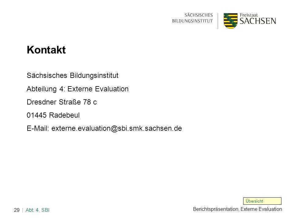 Berichtspräsentation, Externe Evaluation | Abt. 4, SBI29 Sächsisches Bildungsinstitut Abteilung 4: Externe Evaluation Dresdner Straße 78 c 01445 Radeb