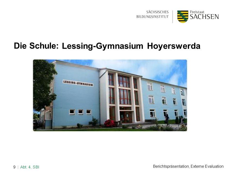 Berichtspräsentation, Externe Evaluation | Abt. 4, SBI9 Die Schule: Lessing-Gymnasium Hoyerswerda
