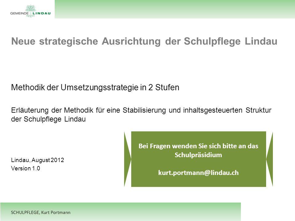 SCHULPFLEGE, Kurt Portmann Neue strategische Ausrichtung der Schulpflege Lindau Methodik der Umsetzungsstrategie in 2 Stufen Erläuterung der Methodik