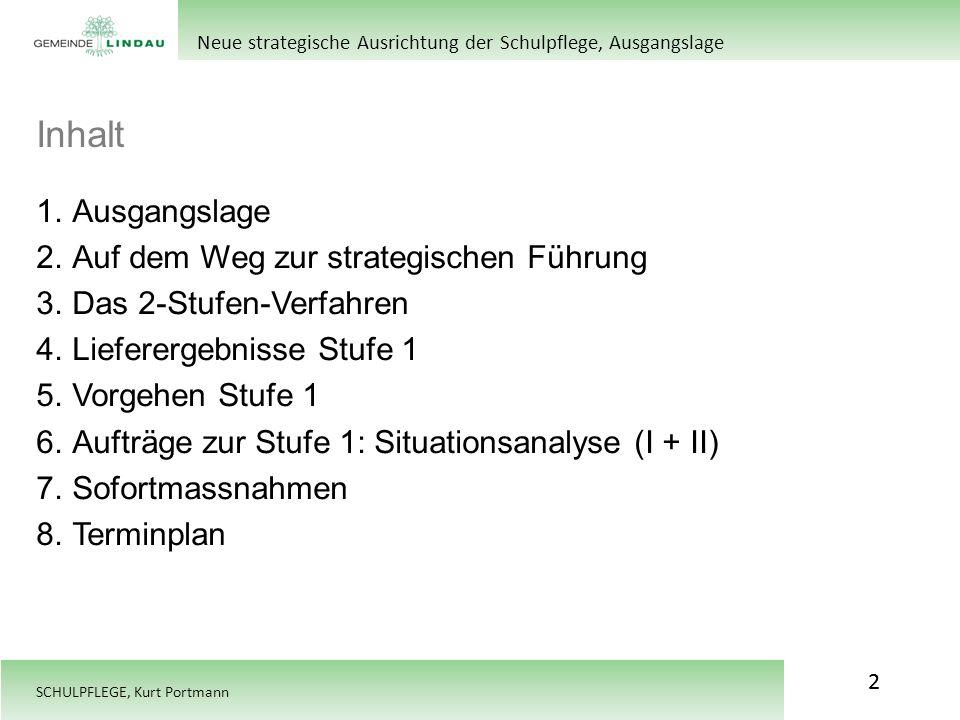 SCHULPFLEGE, Kurt Portmann Inhalt 2 Neue strategische Ausrichtung der Schulpflege, Ausgangslage 1.Ausgangslage 2.Auf dem Weg zur strategischen Führung