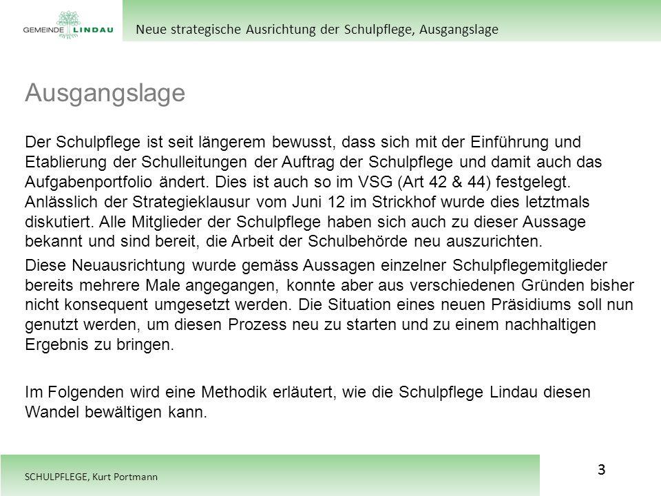 SCHULPFLEGE, Kurt Portmann Ausgangslage 3 Neue strategische Ausrichtung der Schulpflege, Ausgangslage Der Schulpflege ist seit längerem bewusst, dass