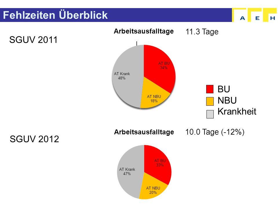 Fehlzeiten Überblick SGUV 2011 SGUV 2012 BU NBU Krankheit 11.3 Tage 10.0 Tage (-12%)