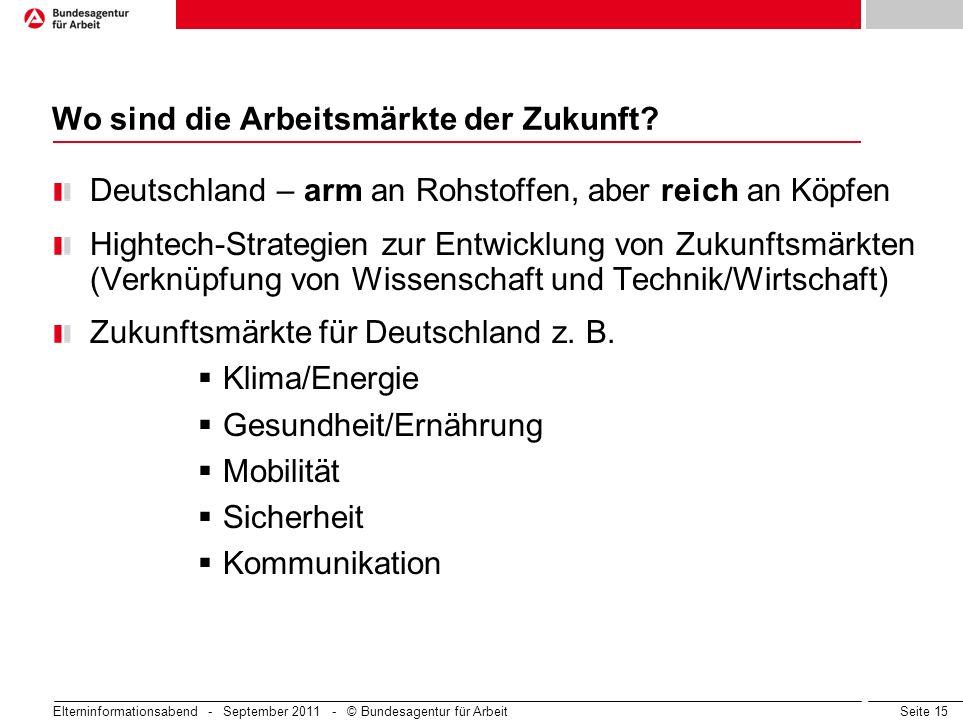 Seite 15 Wo sind die Arbeitsmärkte der Zukunft? Deutschland – arm an Rohstoffen, aber reich an Köpfen Hightech-Strategien zur Entwicklung von Zukunfts