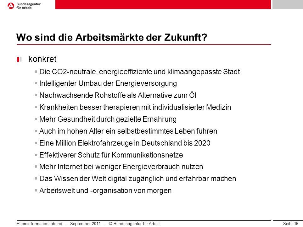 Seite 16 Wo sind die Arbeitsmärkte der Zukunft? konkret Die CO2-neutrale, energieeffiziente und klimaangepasste Stadt Intelligenter Umbau der Energiev