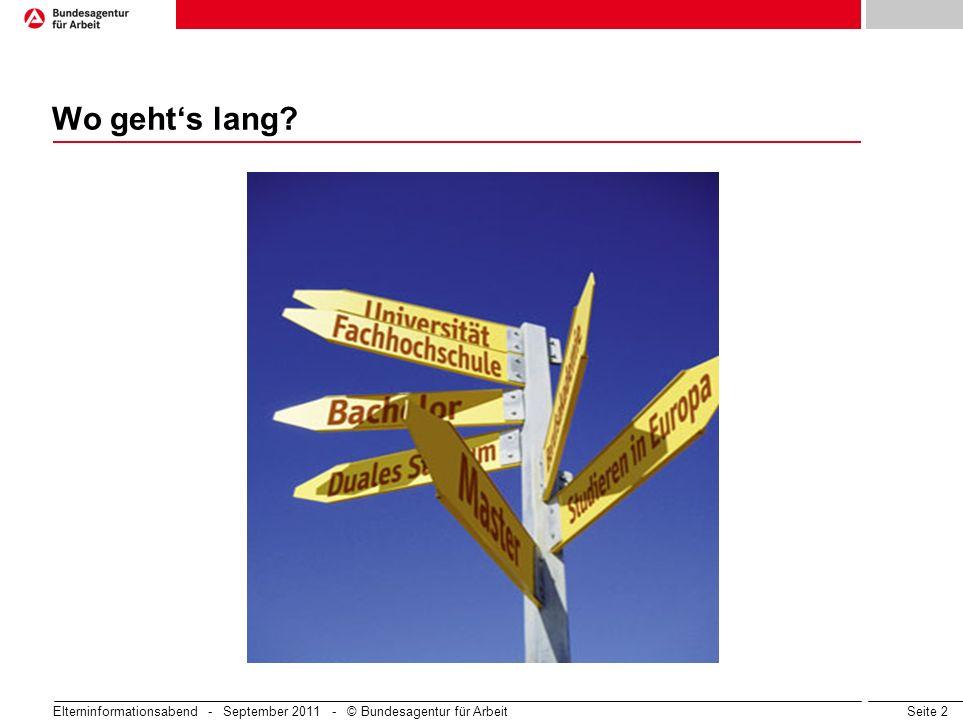 Seite 2 Elterninformationsabend - September 2011 - © Bundesagentur für Arbeit Wo gehts lang?