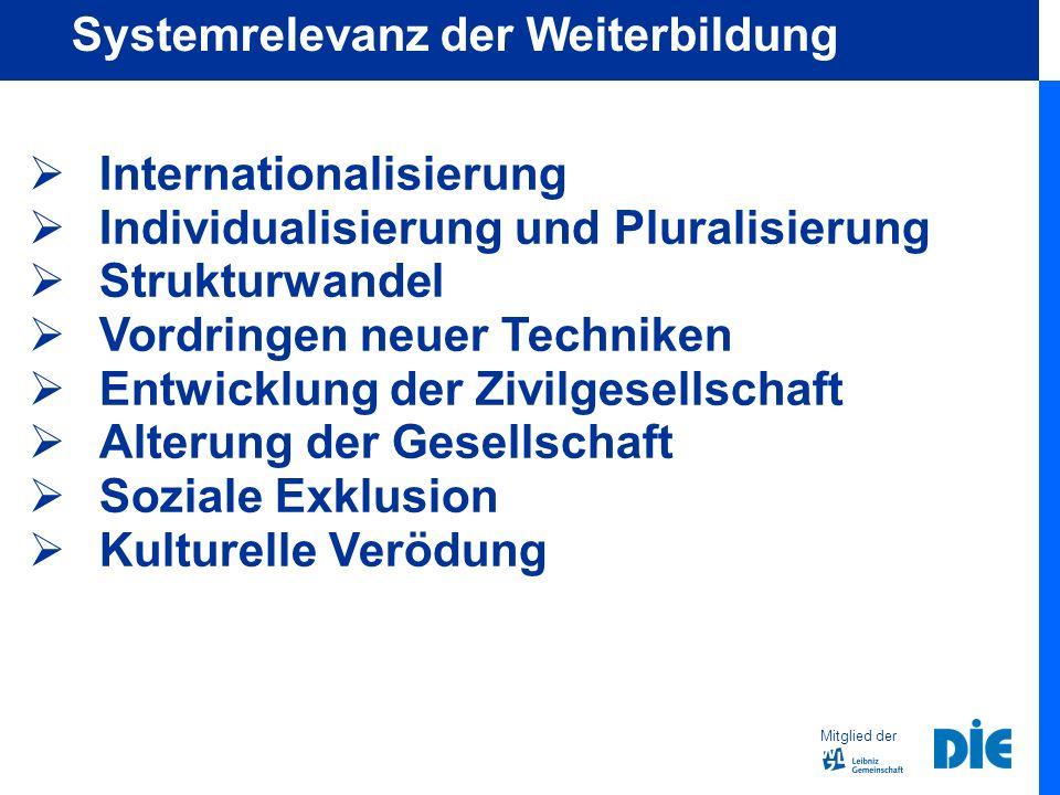 Internationalisierung Individualisierung und Pluralisierung Strukturwandel Vordringen neuer Techniken Entwicklung der Zivilgesellschaft Alterung der Gesellschaft Soziale Exklusion Kulturelle Verödung Mitglied der Systemrelevanz der Weiterbildung