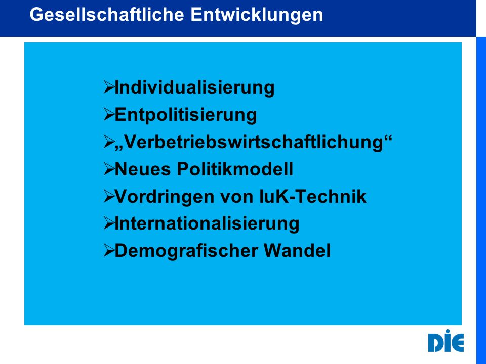 Gesellschaftliche Entwicklungen Individualisierung Entpolitisierung Verbetriebswirtschaftlichung Neues Politikmodell Vordringen von IuK-Technik Intern