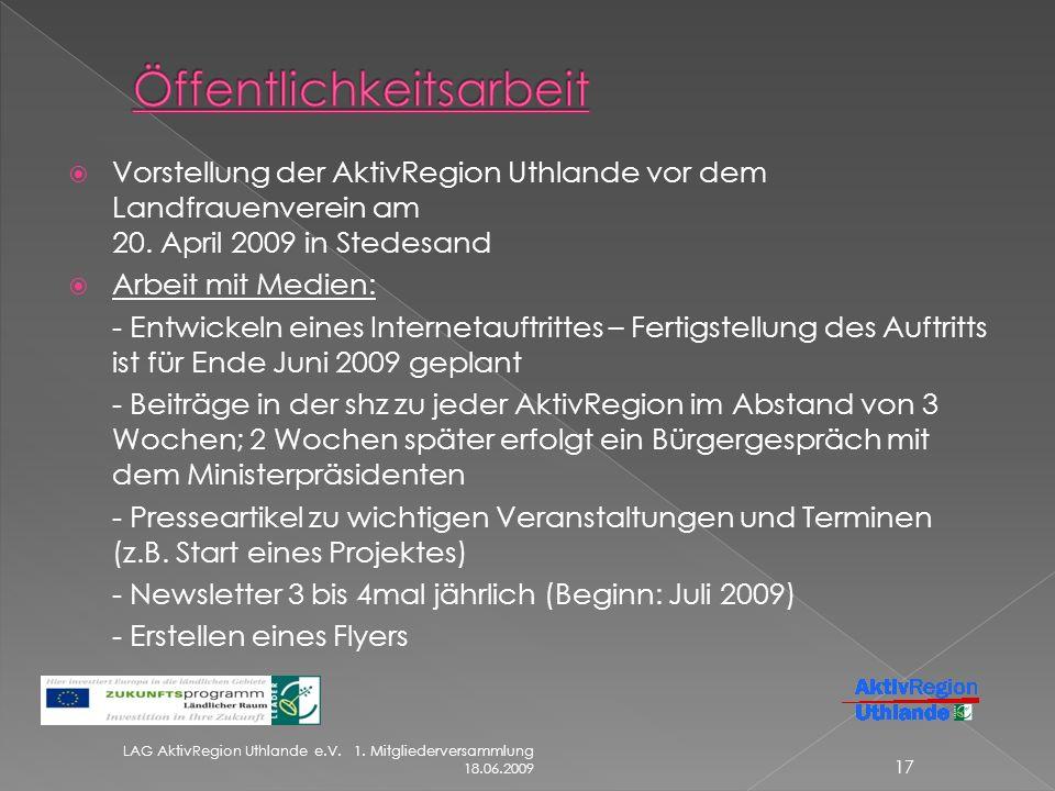 Vorstellung der AktivRegion Uthlande vor dem Landfrauenverein am 20.