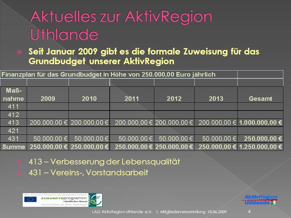 Seit Januar 2009 gibt es die formale Zuweisung für das Grundbudget unserer AktivRegion 413 – Verbesserung der Lebensqualität 431 – Vereins-, Vorstandsarbeit LAG AktivRegion Uthlande e.V.