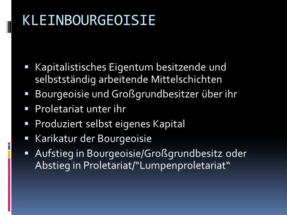 KLEINBOURGEOISIE Kapitalistisches Eigentum besitzende und selbstständig arbeitende Mittelschichten Bourgeoisie und Großgrundbesitzer über ihr Proletar