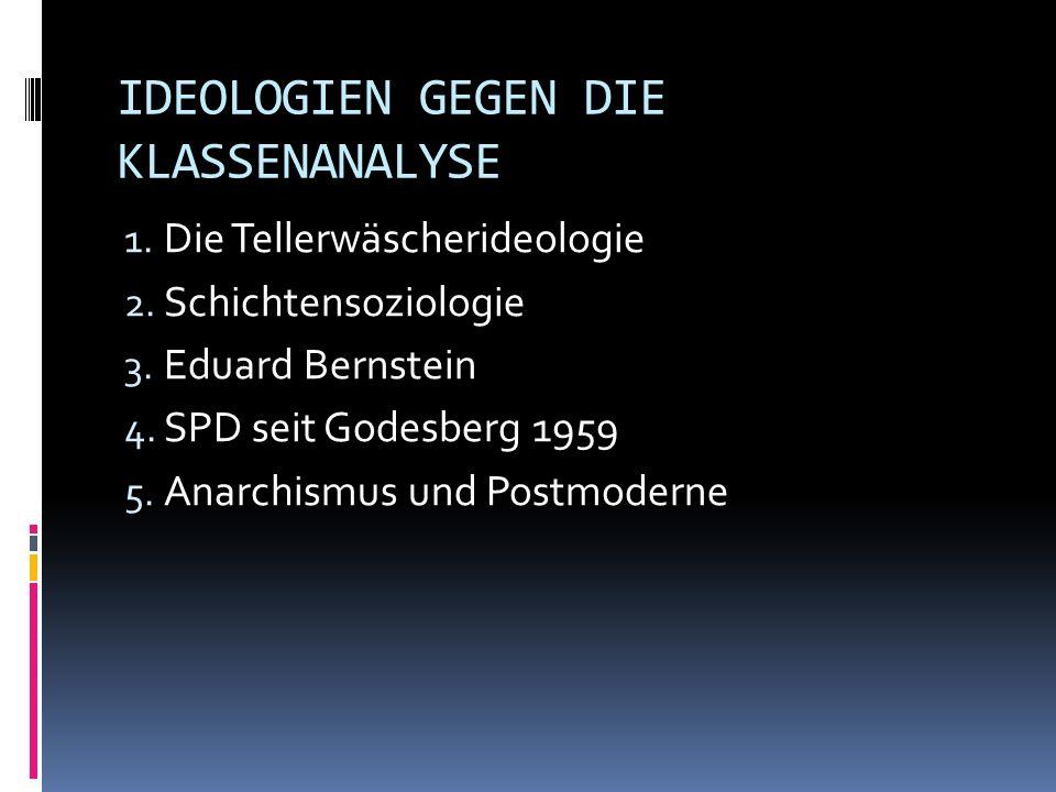 IDEOLOGIEN GEGEN DIE KLASSENANALYSE 1. Die Tellerwäscherideologie 2. Schichtensoziologie 3. Eduard Bernstein 4. SPD seit Godesberg 1959 5. Anarchismus