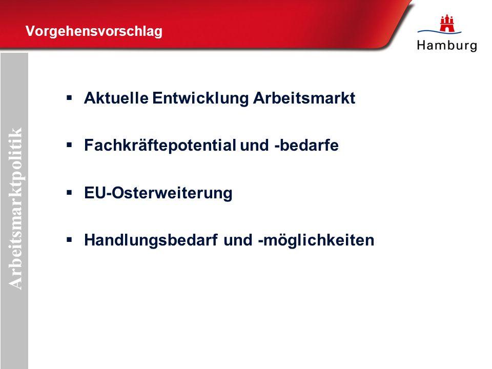 Vorgehensvorschlag Aktuelle Entwicklung Arbeitsmarkt Fachkräftepotential und -bedarfe EU-Osterweiterung Handlungsbedarf und -möglichkeiten Arbeitsmarktpolitik