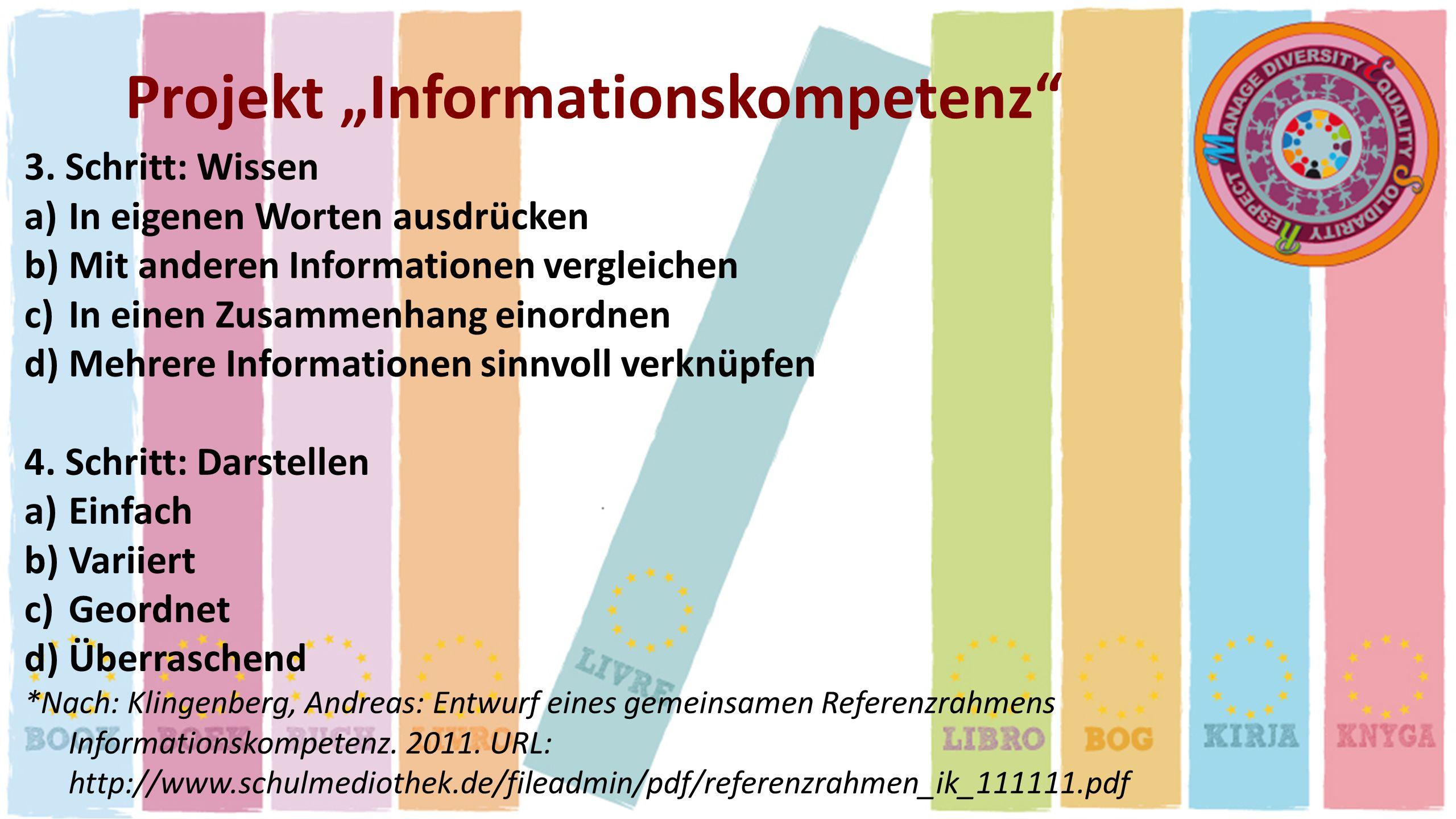 Projekt Informationskompetenz 3. Schritt: Wissen a)In eigenen Worten ausdrücken b)Mit anderen Informationen vergleichen c)In einen Zusammenhang einord