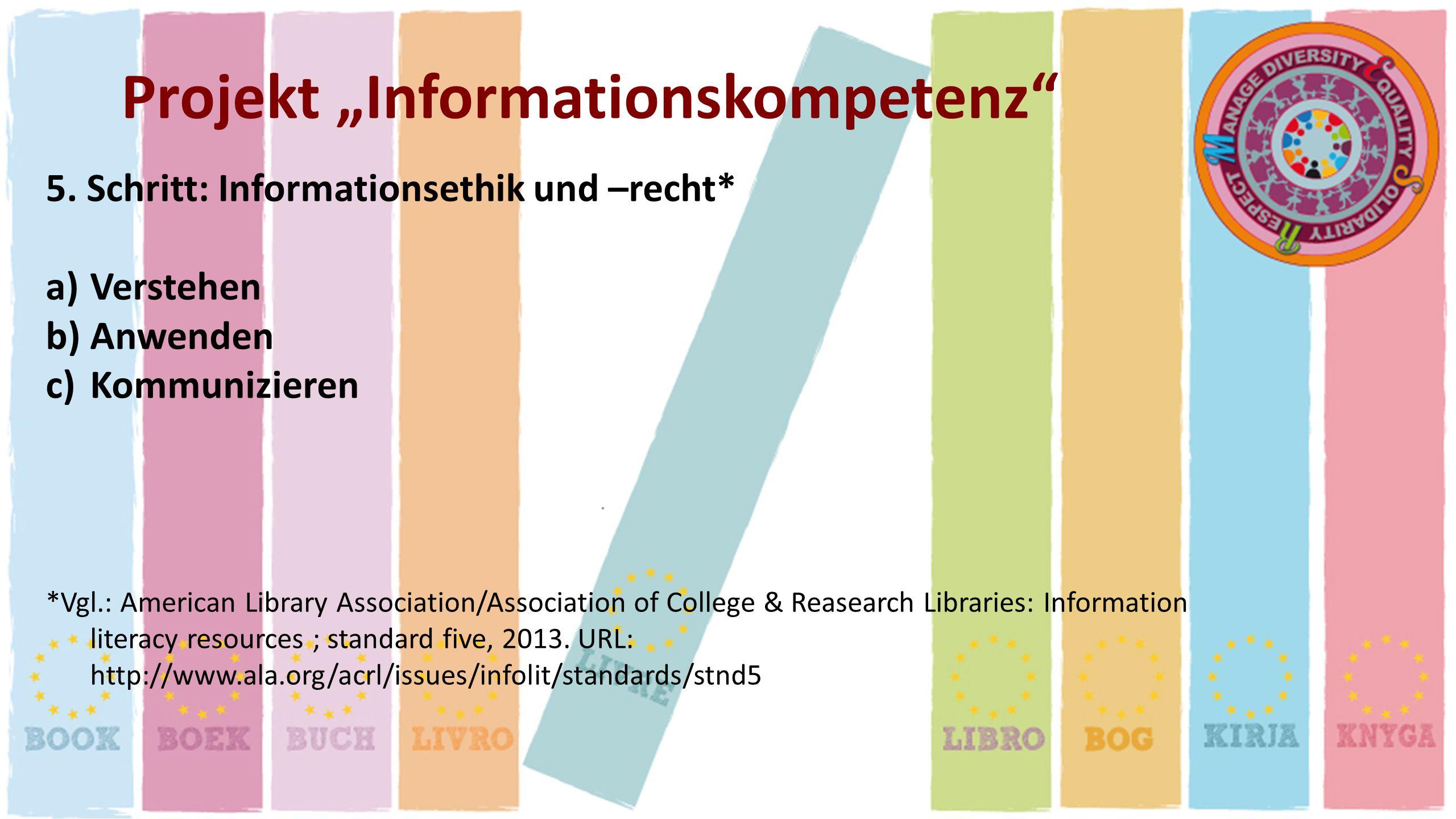 Projekt Informationskompetenz 5. Schritt: Informationsethik und –recht* a)Verstehen b)Anwenden c)Kommunizieren *Vgl.: American Library Association/Ass