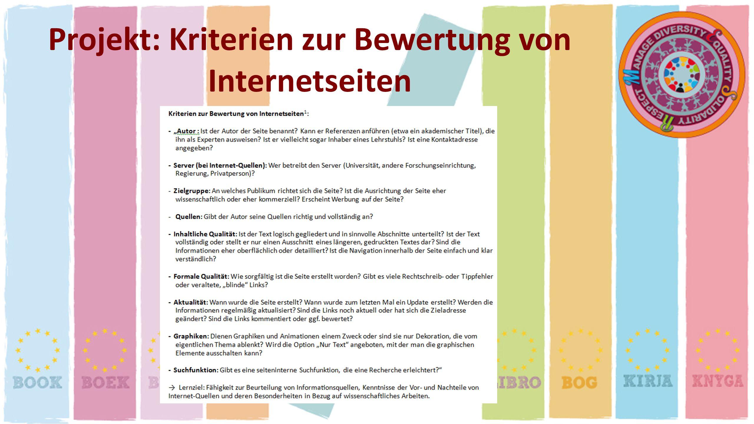 Projekt: Kriterien zur Bewertung von Internetseiten