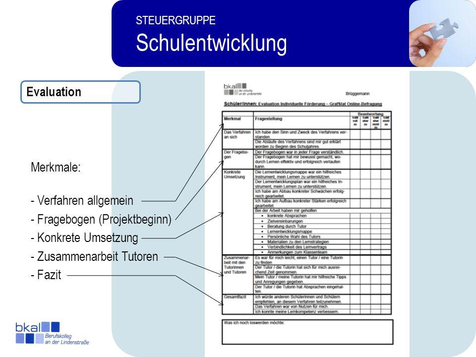 14 STEUERGRUPPE Schulentwicklung Merkmale: - Verfahren allgemein - Fragebogen (Projektbeginn) - Fazit - Zusammenarbeit Tutoren - Konkrete Umsetzung Ev