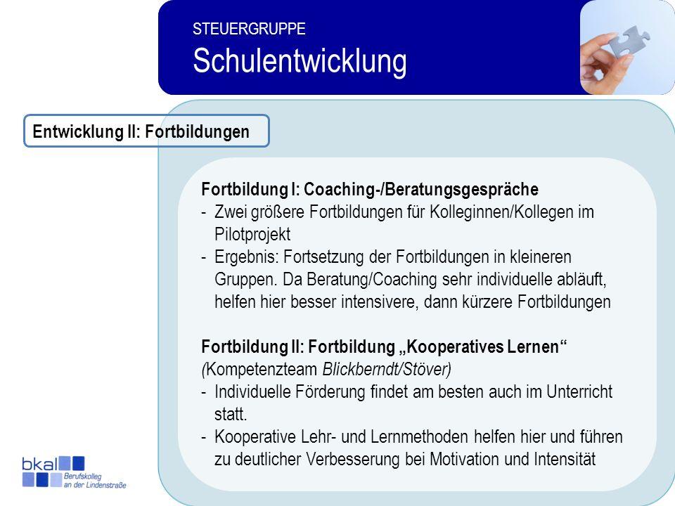 17 STEUERGRUPPE Schulentwicklung 4 STEUERGRUPPE Schulentwicklung Keine Konkurrenz zu sinnvollen FörderungskonzeptenGesucht: umfassender, nicht neuer F