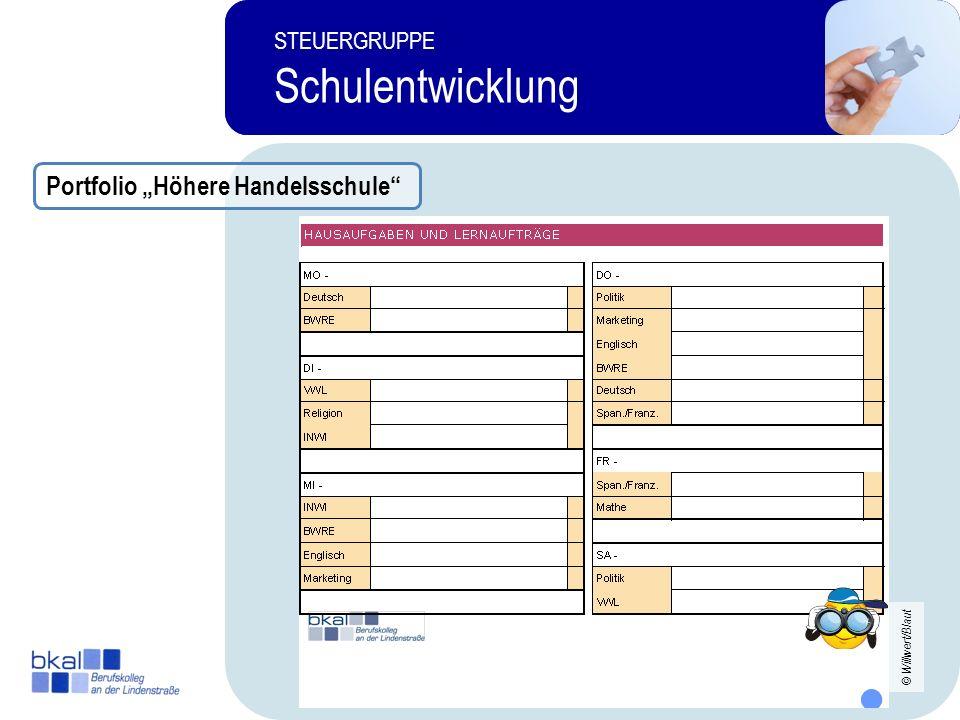 24 STEUERGRUPPE Schulentwicklung STEUERGRUPPE Schulentwicklung Portfolio Höhere Handelsschule © Willwert/Blaut
