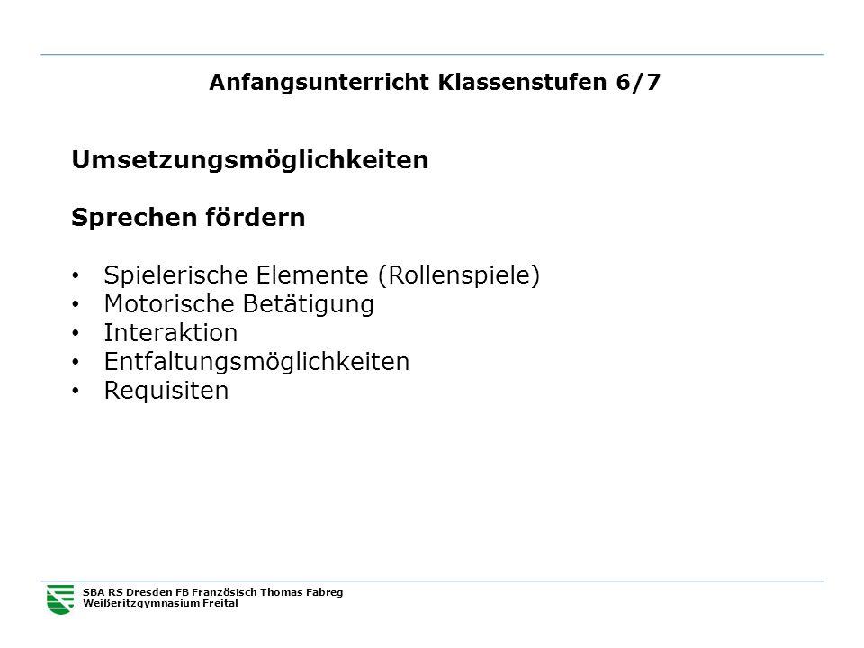 Anfangsunterricht Klassenstufen 6/7 SBA RS Dresden FB Französisch Thomas Fabreg Weißeritzgymnasium Freital Umsetzungsmöglichkeiten Sprechen fördern Sp