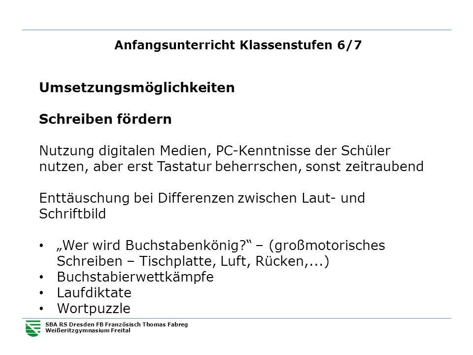 Anfangsunterricht Klassenstufen 6/7 SBA RS Dresden FB Französisch Thomas Fabreg Weißeritzgymnasium Freital Umsetzungsmöglichkeiten Schreiben fördern N