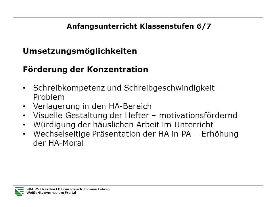 Anfangsunterricht Klassenstufen 6/7 SBA RS Dresden FB Französisch Thomas Fabreg Weißeritzgymnasium Freital Umsetzungsmöglichkeiten Förderung der Konze