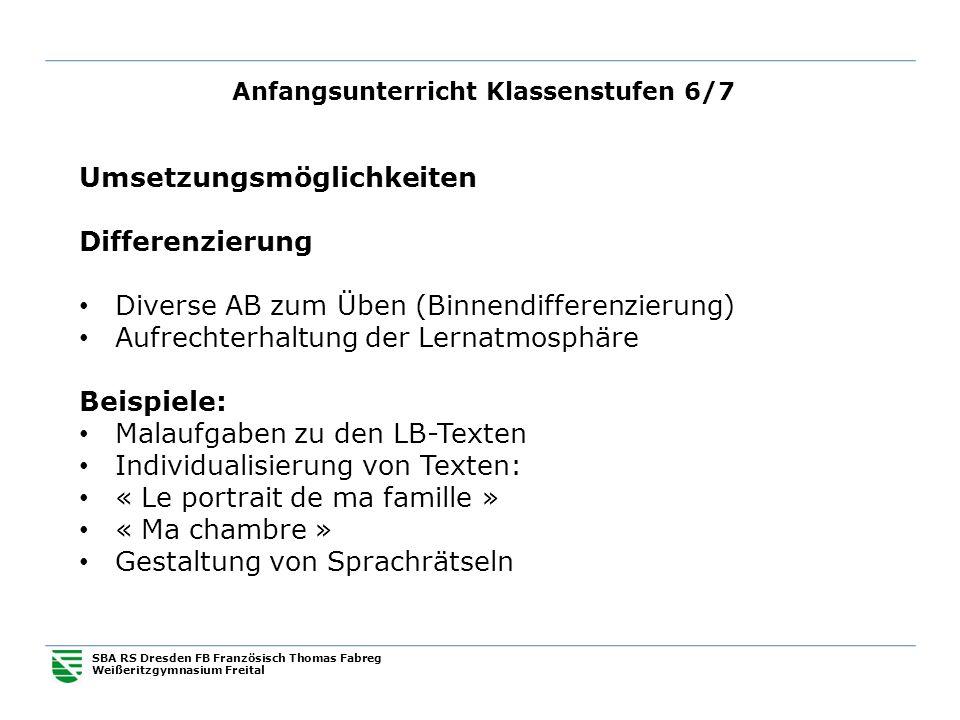 Anfangsunterricht Klassenstufen 6/7 SBA RS Dresden FB Französisch Thomas Fabreg Weißeritzgymnasium Freital Umsetzungsmöglichkeiten Differenzierung Div