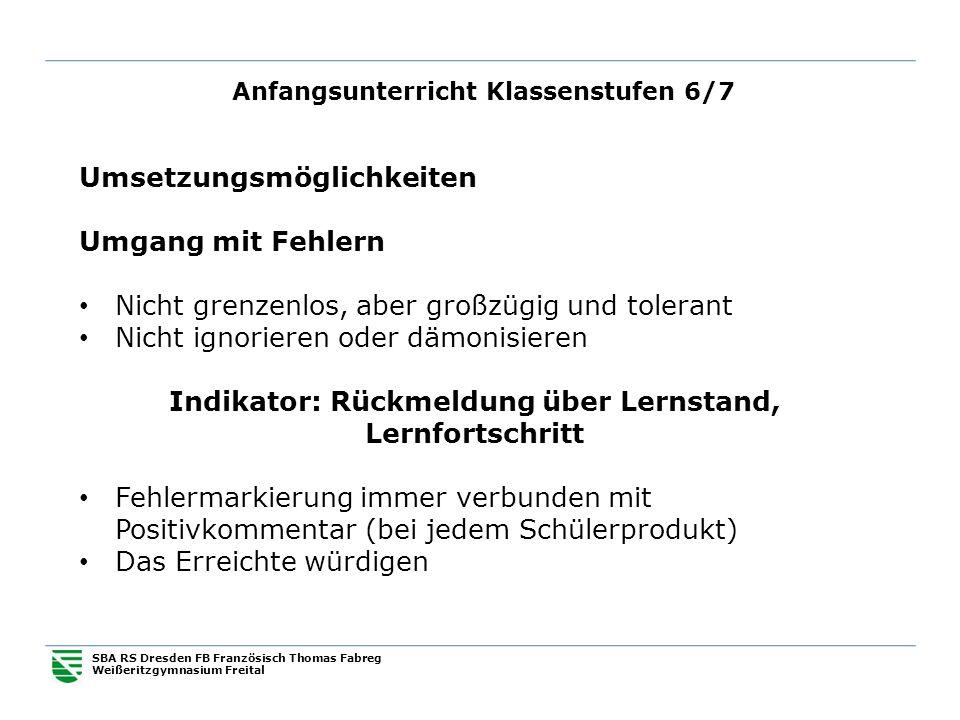 Anfangsunterricht Klassenstufen 6/7 SBA RS Dresden FB Französisch Thomas Fabreg Weißeritzgymnasium Freital Umsetzungsmöglichkeiten Umgang mit Fehlern