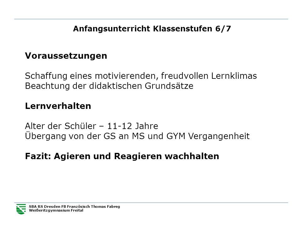 Anfangsunterricht Klassenstufen 6/7 SBA RS Dresden FB Französisch Thomas Fabreg Weißeritzgymnasium Freital Voraussetzungen Schaffung eines motivierend