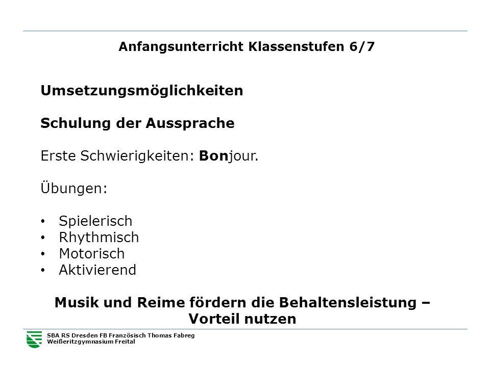 Anfangsunterricht Klassenstufen 6/7 SBA RS Dresden FB Französisch Thomas Fabreg Weißeritzgymnasium Freital Umsetzungsmöglichkeiten Schulung der Ausspr