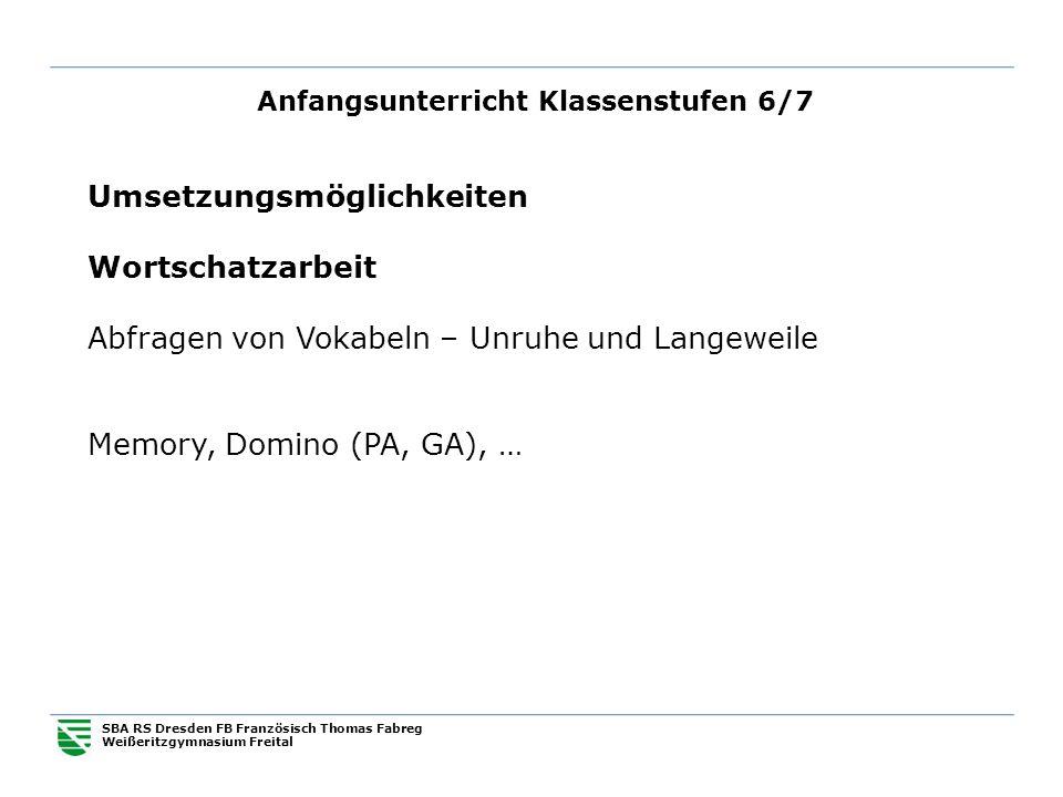 Anfangsunterricht Klassenstufen 6/7 SBA RS Dresden FB Französisch Thomas Fabreg Weißeritzgymnasium Freital Umsetzungsmöglichkeiten Wortschatzarbeit Ab