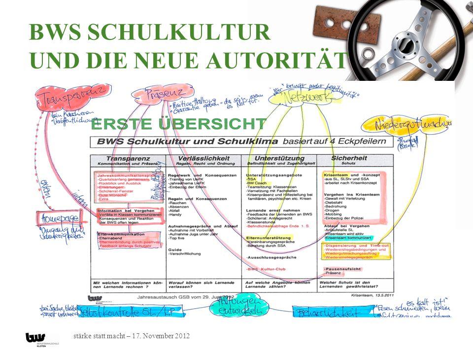 stärke statt macht – 17. November 2012 BWS SCHULKULTUR UND DIE NEUE AUTORITÄT