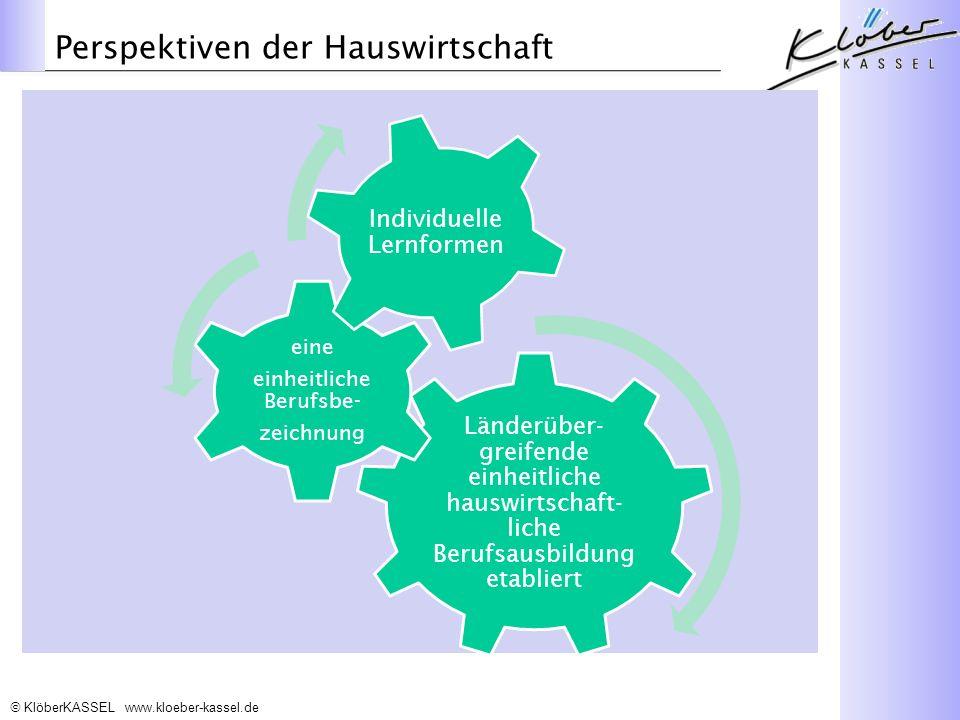 KlöberKASSEL www.kloeber-kassel.de Perspektiven der Hauswirtschaft Länderüber- greifende einheitliche hauswirtschaft- liche Berufsausbildung etabliert eine einheitliche Berufsbe- zeichnung Individuelle Lernformen