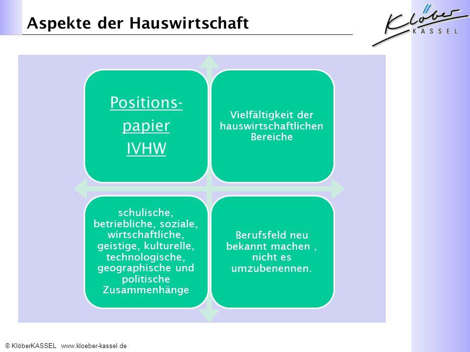 KlöberKASSEL www.kloeber-kassel.de Aspekte der Hauswirtschaft Positions- papier IVHW Vielfältigkeit der hauswirtschaftlichen Bereiche schulische, betriebliche, soziale, wirtschaftliche, geistige, kulturelle, technologische, geographische und politische Zusammenhänge Berufsfeld neu bekannt machen, nicht es umzubenennen.