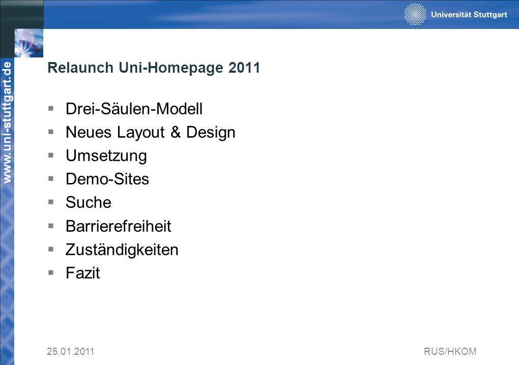 www.uni-stuttgart.de 25.01.2011RUS/HKOM Relaunch Uni-Homepage 2011 Drei-Säulen-Modell Neues Layout & Design Umsetzung Demo-Sites Suche Barrierefreiheit Zuständigkeiten Fazit