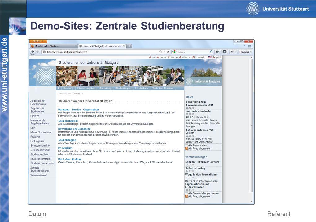 www.uni-stuttgart.de Demo-Sites: Zentrale Studienberatung DatumReferent