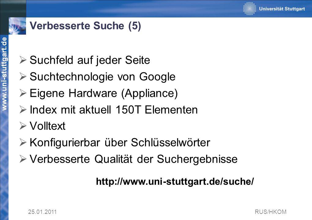 www.uni-stuttgart.de Verbesserte Suche (5) Suchfeld auf jeder Seite Suchtechnologie von Google Eigene Hardware (Appliance) Index mit aktuell 150T Elementen Volltext Konfigurierbar über Schlüsselwörter Verbesserte Qualität der Suchergebnisse 25.01.2011RUS/HKOM http://www.uni-stuttgart.de/suche/