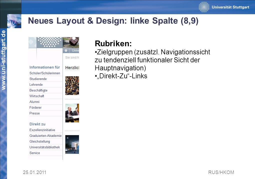 www.uni-stuttgart.de Neues Layout & Design: linke Spalte (8,9) 25.01.2011RUS/HKOM Rubriken: Zielgruppen (zusätzl.