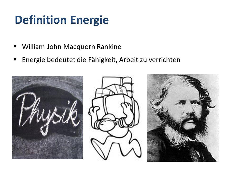 William John Macquorn Rankine Energie bedeutet die Fähigkeit, Arbeit zu verrichten